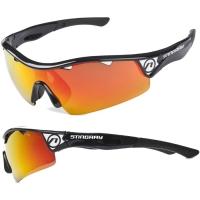 Accent Stingray Okulary rowerowe czarne czarno czerwone soczewki