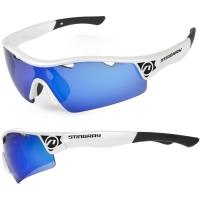 Accent Stingray Okulary rowerowe biało czarne niebieskie soczewki