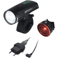 Sigma Sportster + Mono Zestaw Lampek z portem USB czarne