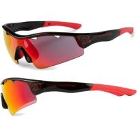 Accent Stingray Okulary rowerowe czarno czerwone soczewki