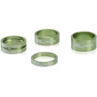 """XLC AS A02 Zestaw 5 podkładek pod mostek 1 1/8"""" 5/10/15mm zielony"""