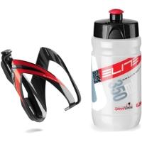 Elite Kit Ceo Zestaw koszyk + bidon 350ml czarno czerwony