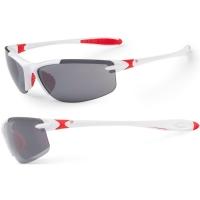 Accent Tempest Okulary rowerowe biało czerwone szara soczewka