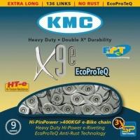 KMC X9E EPT Łańcuch 9 rzędowy 136 ogniw + spinka