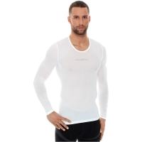 Brubeck Koszulka rowerowa termoaktywna z długim rękawem biała