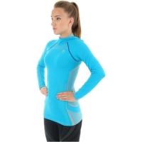 Brubeck Bluza damska z kapturem fitness lazurowa
