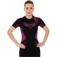 Brubeck Dry koszulka damska z krótkim rękawem czarno amarantowa