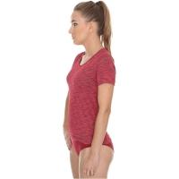 Brubeck Fusion koszulka damska krótki rękaw niebieska ciemnoczerwona