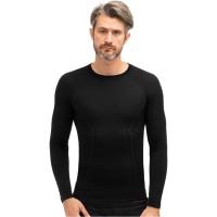 Brubeck Active Wool Koszulka męska długi rękaw czarna