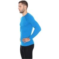 Brubeck Koszulka męska długi rękaw active wool niebieska