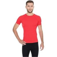 Brubeck Koszulka męska krótki rękaw active wool czerwona
