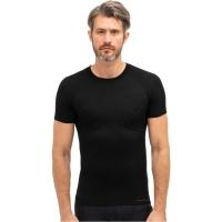 Brubeck Active Wool Koszulka męska krótki rękaw czarna