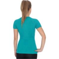Brubeck koszulka damska krótki rękaw active wool szmaragdowa
