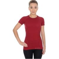 Brubeck koszulka damska krótki rękaw active wool burgundowa