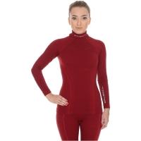 Brubeck Bluza damska długi rękaw Extreme wool burgundowa