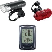 Cateye EL150RC / LD635 / VT230W Lampka przednia i tylna USB + licznik