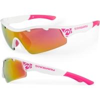 Accent Stingray Okulary rowerowe biało różowe przezroczyste soczewki