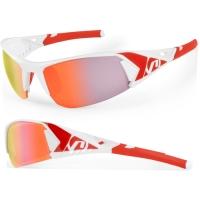Accent Jackal Okulary rowerowe biało czerwone przezroczyste soczewki