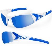 Accent Jackal Okulary rowerowe biało niebieskie przezroczyste soczewki