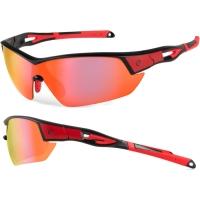 Accent Leopard Okulary rowerowe czarno czerwone przezroczyste soczewki