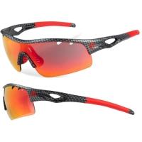 Accent Storm Okulary rowerowe czarno czerwone przezroczysta soczewka