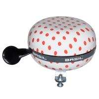 Basil Big Bell Polkadot Dzwonek rowerowy 80mm biały czerwone kropki
