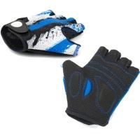 Author Junior X6 Rękawiczki rowerowe dziecięce z krótkimi palcami biało czarno niebieskie