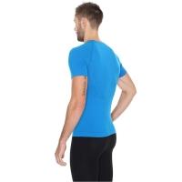 Brubeck Active Wool Koszulka męska krótki rękaw niebieska