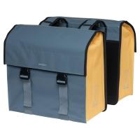 Basil Urban Load Double Bag Sakwa rowerowa miejska podwójna szary złoty 48-53L