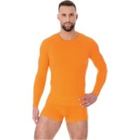 Brubeck Active Wool Koszulka z długim rękawem męska pomarańczowa