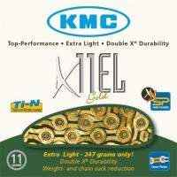 KMC X11EL Łańcuch 11 rzędowy 114 ogniw + spinka złoty