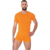Brubeck Active Wool Koszulka męska krótki rękaw pomarańczowa