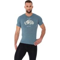 Brubeck Outdoor Wool Koszulka męska krótki rękaw stalowa