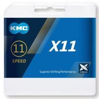 KMC X11 Łańcuch 11 rzędowy 118 ogniw + spinka szary
