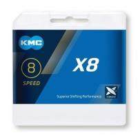 KMC X8 Łańcuch 8/7/6 rzędowy 114 ogniw + spinka szary