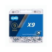 KMC X9 Silver/Gray Łańcuch 9 rzędowy 114 ogniw + spinka srebrny/szary