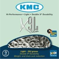 KMC X9L Łańcuch 9 rzędowy 116 ogniw + spinka złoty