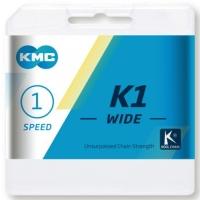 KMC K1 Wide Łańcuch 1 rzędowy 110 ogniw srebrno czarny + spinka
