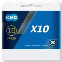 KMC X10 Łańcuch 10 rzędowy 114 ogniw + spinka szary