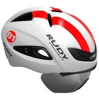 Rudy Project Boost 01 Kask z osłoną szosowy triathlon White Red Fluo Shiny