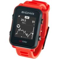 Sigma iD.Tri Set Zegarek do triathlonu z pulsometrem GPS kadencja neon czerwony 2020