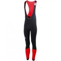 Rogelli Impact Spodnie rowerowe na szelkach z wkładką czarno czerwone