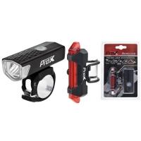 ProX Aero SET Zestaw lampek rowerowych CREE 120 Lm aku USB
