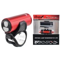 ProX Pictor SET Zestaw lampek rowerowych czerwony CREE 350 Lm aku USB