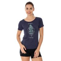 Brubeck Outdoor Wool Koszulka damska krótki rękaw ciemnoniebieska gałązka