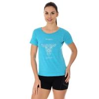 Brubeck Outdoor Wool Koszulka damska krótki rękaw jasnoniebieska kozica