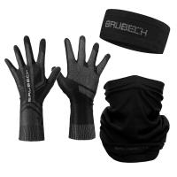 Brubeck Zestaw treningowy dla biegacza opaska + rękawiczki + komin unisex czarny