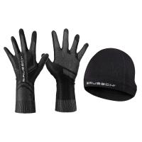 Brubeck Zestaw treningowy dla biegacza czapka + rękawiczki czarny