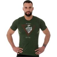 Brubeck Outdoor Wool Pro Termoaktywna Koszulka męska ciemno zielona