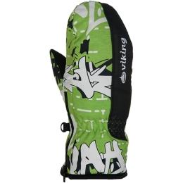 Viking Kids Liam Rękawice narciarskie młodzieżowe zielono biało czarne